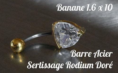 Piercing nombril zircon serti cœur diamant