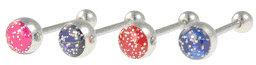 High Glitter Resin Logo Tongue Barbell Ring
