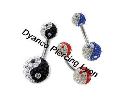 Piercing nombril Yin Yang multi cristal