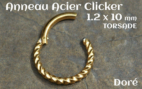 Anneau clicker acier dore torsade 10 mm