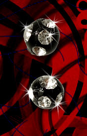 Boules acrylique noire multi strass 1.2x3 mm