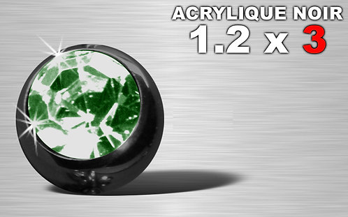 Boule acrylique noire 1.2 x 3 - strass vert