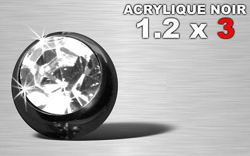 Boule acrylique noire 1.2 x 3 - strass diamant