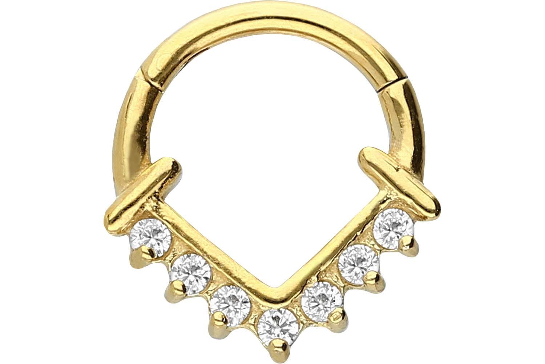 Anneau septum et hélix 7 cristaux