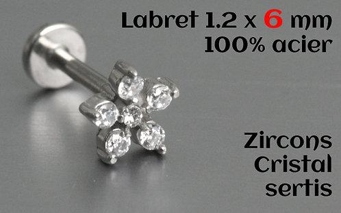 Labret zircons fleur cristal sertis