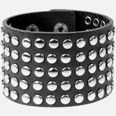 Bracelet cuir rivets noir
