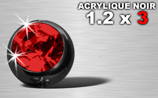 Boule acrylique noire 1.2 x 3 strass rouge