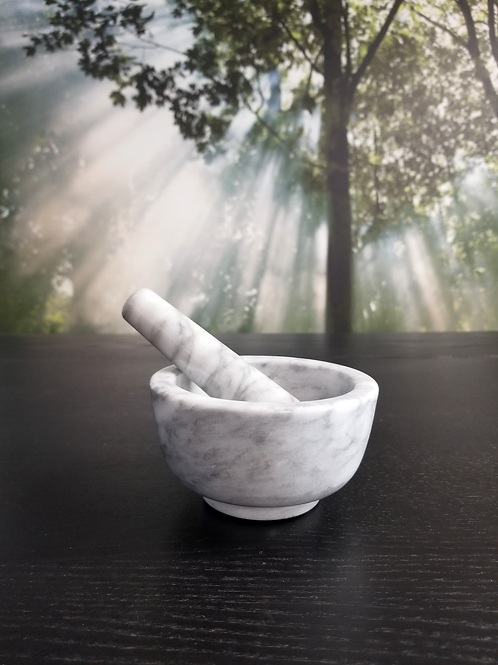 Mortar and Pestle Marble White Large