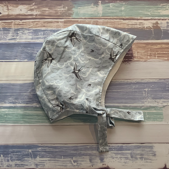 Grey Birds Baby Bonnet