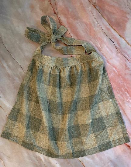 Kid-sized Neutral Gingham Wrap-Skirt Apron