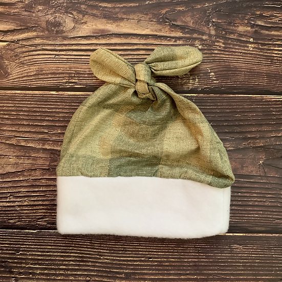 Cozy Gingham Top-Knot Baby Hat