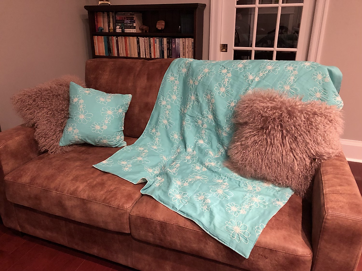 Blue Floral Baby Blanket & Throw Pillow Case