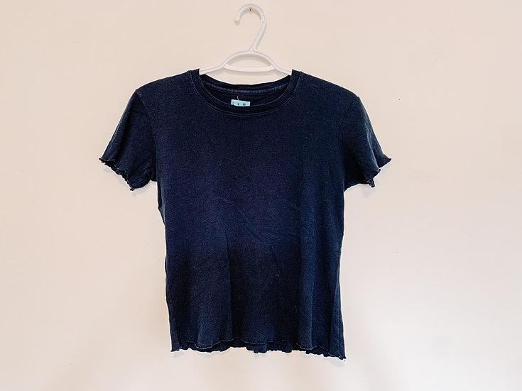 Navy Ruffle T-Shirt - Women's Small