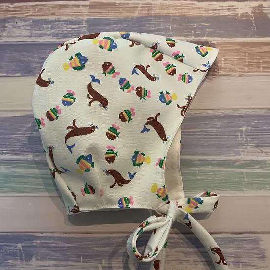 Seals & Fish Linen Baby Bonnet