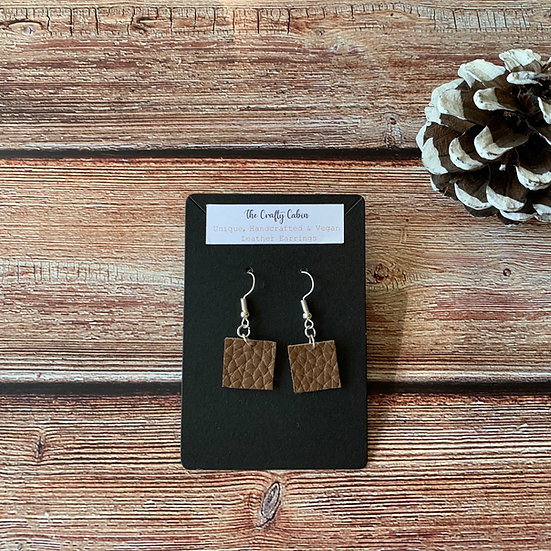 Chocolate Simple Square Earrings