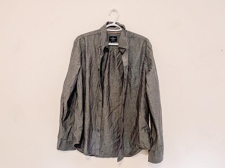 Grey Collared Shirt - Men's Medium - American Eagle
