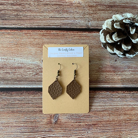 Chocolate Simple Hexagon Earrings