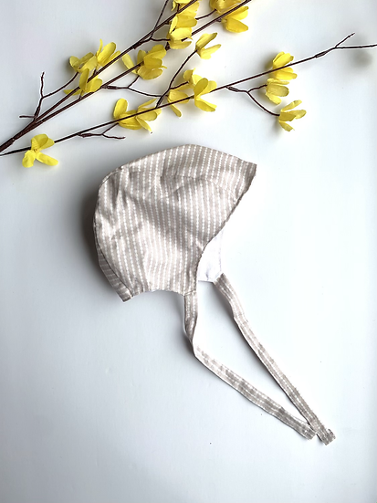 Neutral Striped Baby Bonnet