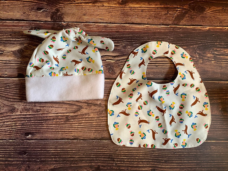 Linen Bib and Top Knot Baby Hat Set