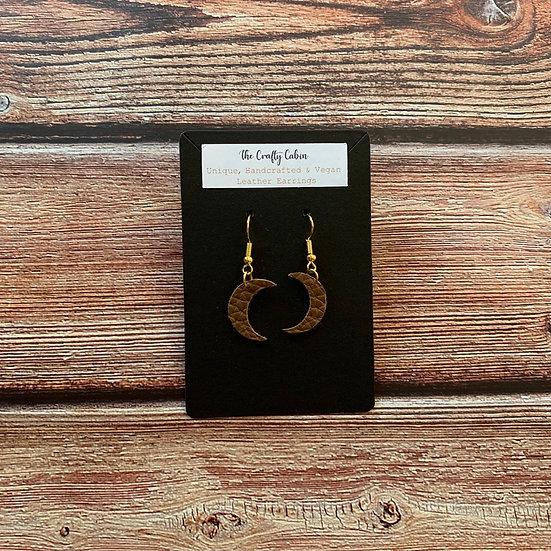 Chestnut Mini Crescent Moon Earrings