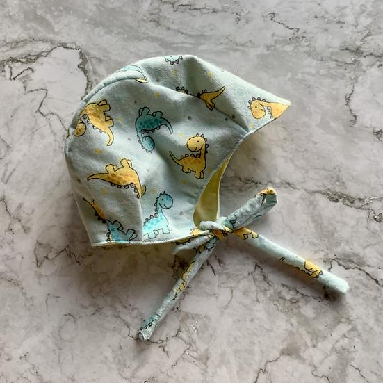 Flannel Dino Baby Bonnet
