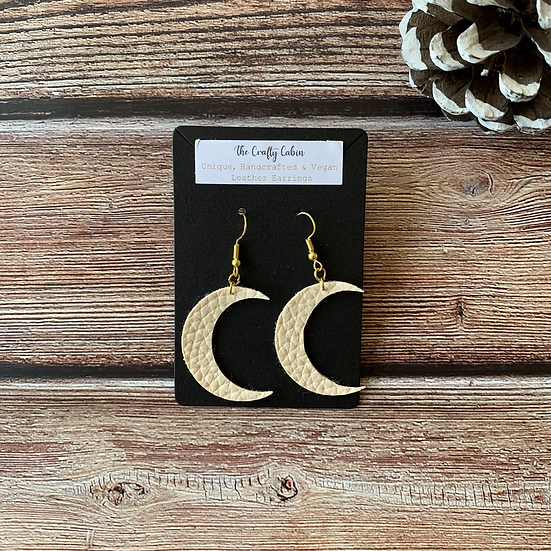 Cream Bold Crescent Moon Earrings