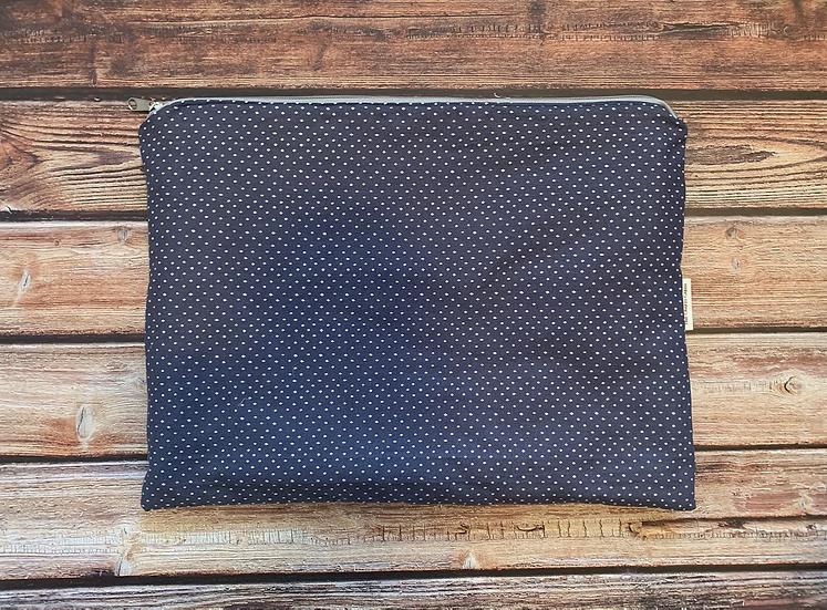 Navy Dots Zippered Laptop Case