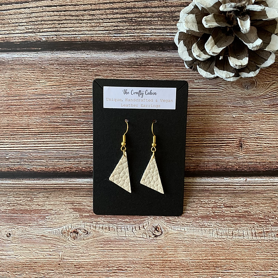Cream Scalene Triangle Earrings