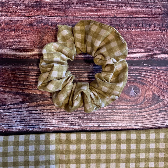 The Olive Gingham Scrunchie