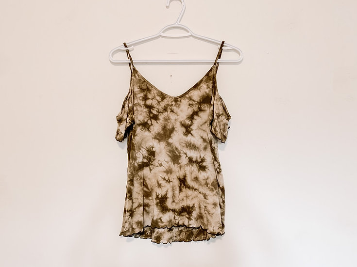 Olive Tie-Dye Cold Shoulder Shirt - Women's XS - American Eagle