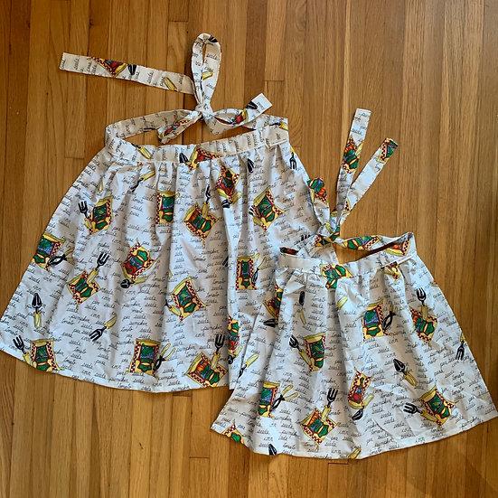 Vintage Veggie Wrap-Skirt Mama & Mini Aprons