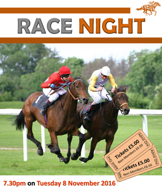 RACE NIGHT – TUESDAY 8TH NOVEMBER 7.30PM