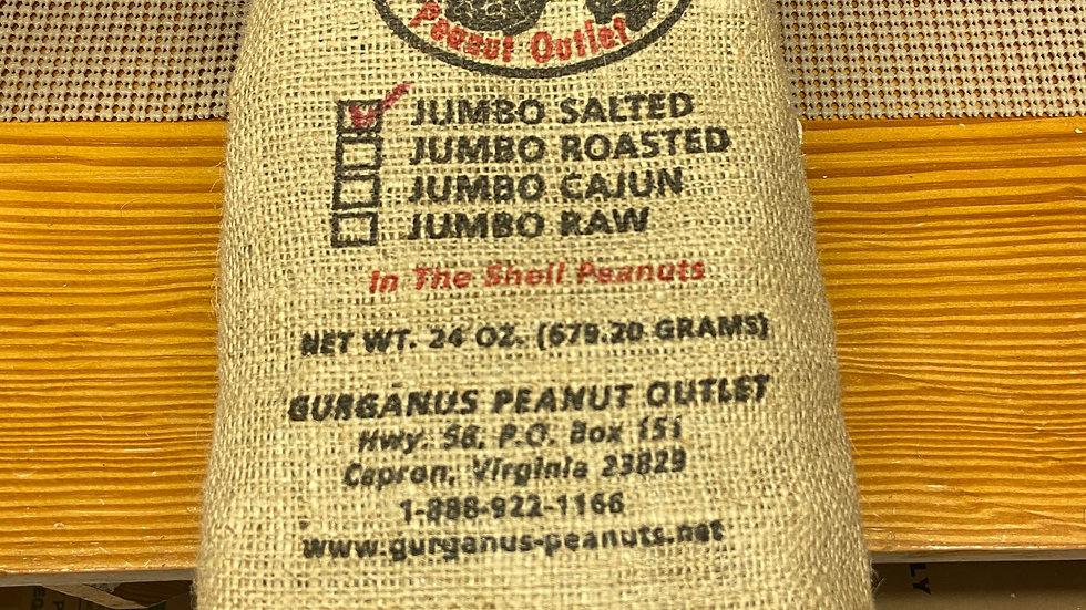 Jumbo Roasted Peanuts In Shell, Salted - Burlap Bag  (1.5 LB)