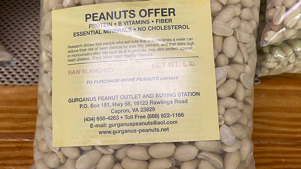 Blanched Peanuts - Shelled NO Skins Bag  (5 LB)