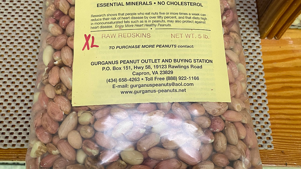 Extra Large Shelled Redskin Peanuts - Sealed Bag  (5 LB)