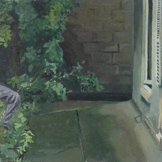 Blue Studio Henry In The Garden - Marc GOLDSTAIN 1992 1993 - Oil On Wood - Artist Studio