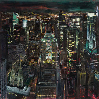 Top Of The Rock Saint Patrick - 100x100cm - Marc GOLDSTAIN 2014 - Oil On Canvas - New - York - City - Nigt City Lights - Contemporary Landscape - Realistic Painting - Rockfeller Center