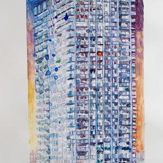 Urban Monad 2 Monotype - 15,5x20cm - Marc GOLDSTAIN 2014 - Oil On Paper - Paris Housing Building - Urban Landscape
