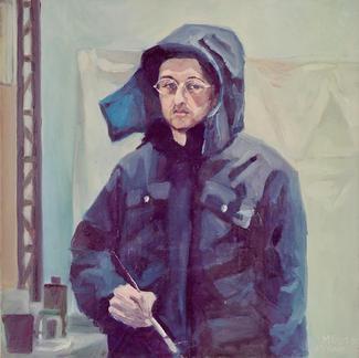 Self Portrait At La Forge - Marc GOLDSTAIN 1998 - Oil On Canvas - Portrait - Paris - 50X50Cm