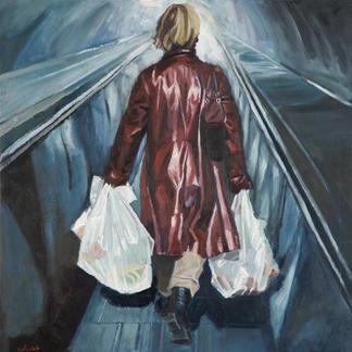 Red Coat Girl Conveyor Belt - 50x50cm - Marc GOLDSTAIN 2009 - Oil On Canvas - Urban Landscape - Paris Subway - Pedestrian - Rer - Metro - Comtemporary Painting