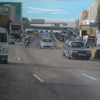 Big Ring Road - 130x197cm - Marc GOLDSTAIN 2006 - Oil On Canvas - Paris - Quai D Ivry - Cars - Urban Landscape - Contemporary Painting