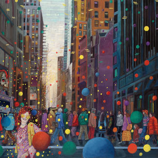 Janis Joplin - 89x116cm - Marc GOLDSTAIN 2006 - Oil On Canvas - Coloured Balloons - Crumb - Urban Landscape - New York - Contemporary Painting