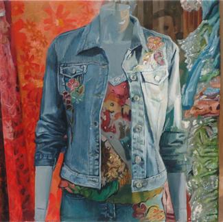 Dummy At The Sentier - 46x55cm - Marc GOLDSTAIN 2005 - Oil On Canvas - Paris - Mannequin - Clothes - Comtemporary Painting - Fashion