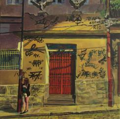 rio gothic- oil on canvas- rio de janeiro- santa teresa- brasil- night lights- urban lands