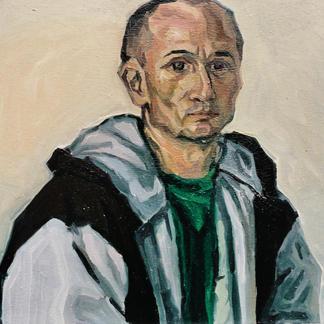 Henry As A Monk - Marc GOLDSTAIN 1992 1993 - Oil On Wood - Portrait