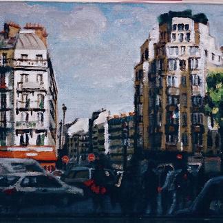 Two Hausmannien Buildings - Marc GOLDSTAIN 2000 - Oil On Canvas - Paris - Urban Landscape - Traffic - Realistic Painting - Contemporary Art