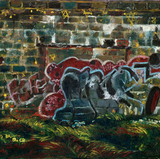 Bunker Wall - Marc GOLDSTAIN 2007 2008 - Oil On Canvas - Grafitti - Contemporary Art - Figurative Painting