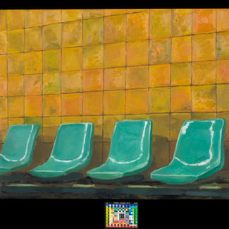 Sat Station - 73x92cm - Marc GOLDSTAIN 2007 2008 - Oil On Canvas - Rer Station - Green Seats - Yellow Wall - Contemporary Art - Realistic Painting