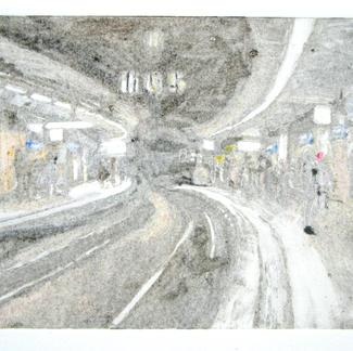 Cite U Paris Fantom Monotype - 15x20cm - Marc GOLDSTAIN 2014 - Oil On Paper - Metro Station - Urban Landscape