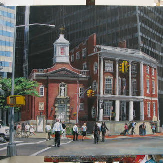 Wall Street Church - 89x116cm - Marc GOLDSTAIN 2013 - Oil On Canvas - New York - Manhattan - Passangers - Buildings - Cutyscape - Contemporary Painting